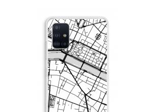 Zet een stadskaart op je  Galaxy A51 hoesje